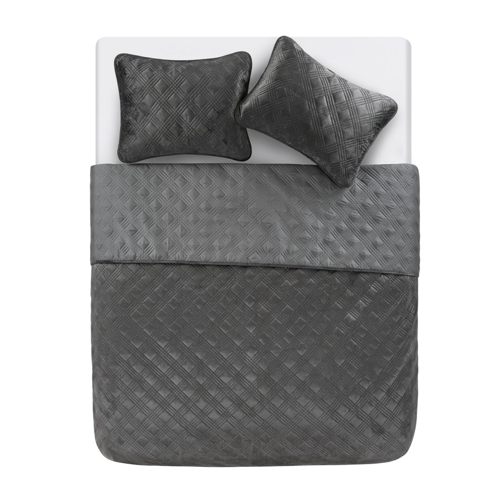 King Diana Quilt Set Charcoal (Grey) - Vcny Home