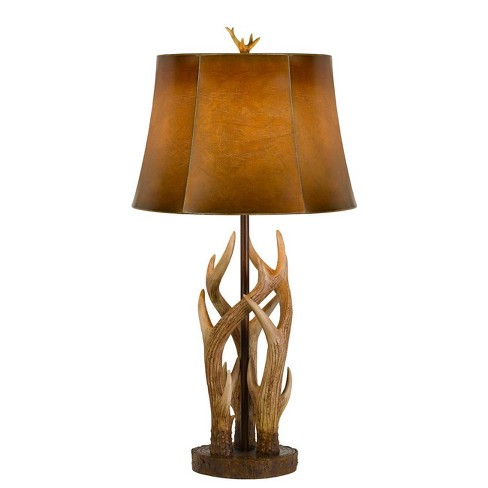 """32.5"""" Darby Antler Resin Table Lamp with Leatherette Shade - Cal Lighting - image 1 of 3"""