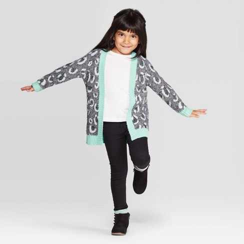 Toddler Girls' Long Sleeve Leopard Print Cardigan - Cat & Jack™ Gray/Aqua - image 1 of 3