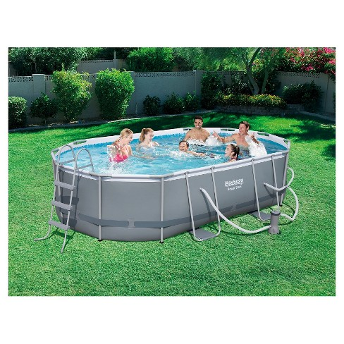Power Steel 16 X 10 X 42 Oval Frame Pool Set Gray Target