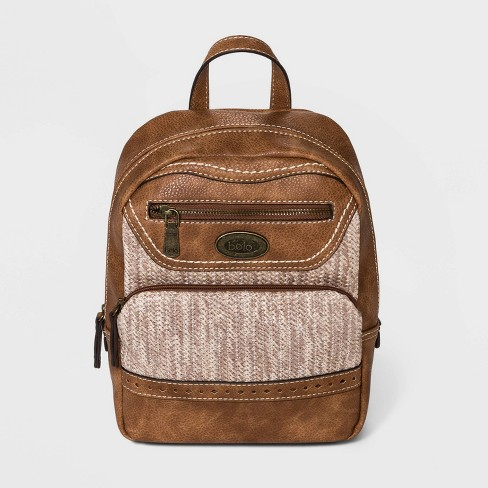 Bolo Zig Zag Straw Backpack - Brown - image 1 of 4