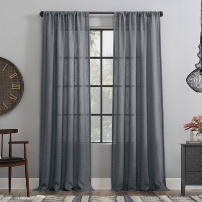 Basketweave Anti-Dust Semi-Sheer Curtain Panel - Clean Window