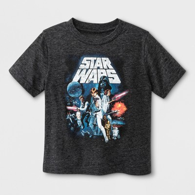 Toddler Boys' Star Wars Le Force Short Sleeve T-Shirt - Charcoal Heather 3T