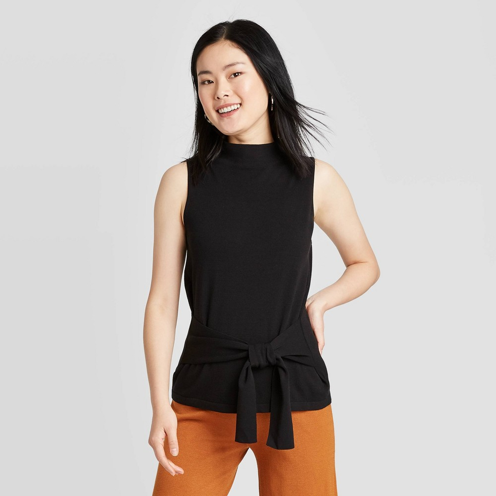 Image of Women's Long Sleeve Crewneck Rib Knit Pullover T-Shirt - A New Day Gray L, Women's, Size: Medium, Black