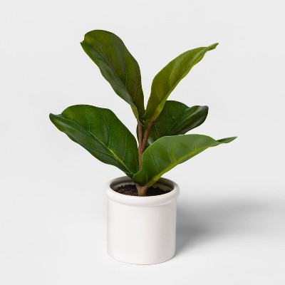 10  x 8  Artificial Fiddle-Leaf Fig In Ceramic Pot Green/White - Threshold™