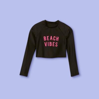 Girls' Beach Vibes Glitter Long Sleeve Rash Guard Swim Shirt - More Than Magic™ Black