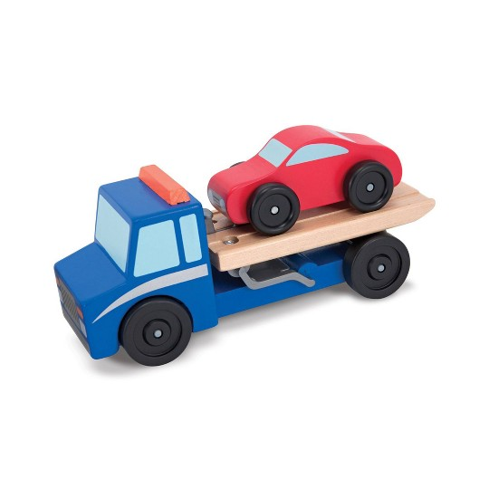 Melissa & Doug Flatbed Tow Truck Wooden Vehicle Set image number null