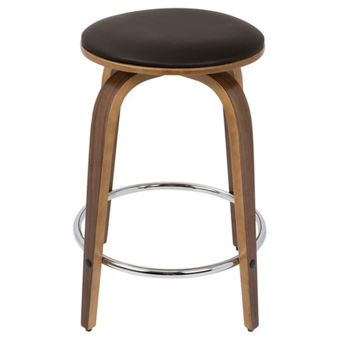 24 Porto Counter Stools With Swivel Walnut Brown With Chrome