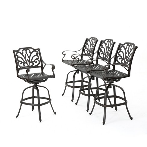 Alfresco Set of 4 Cast Aluminum Barstool - Bronze - Christopher Knight Home - image 1 of 4