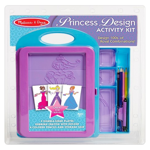 Melissa & Doug® Princess Design Activity Kit - 9 Double-Sided Plates, 4 Colored Pencils, Rubbing Crayon - image 1 of 6