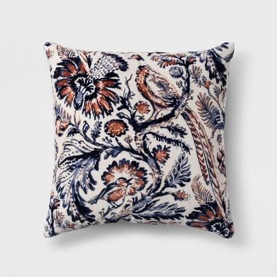 Floral Printed Velvet Throw Pillow Blue - Threshold™