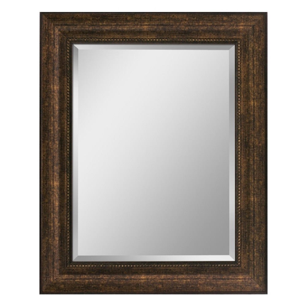 "Image of ""Head West 28"""" x 34"""" Copper Beaded Bronze Mirror, Multi-Colored"""