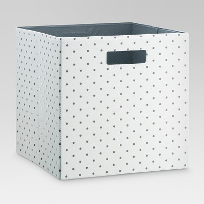 "13"" Fabric Cube Storage Bin Gray Polka Dot - Threshold™"