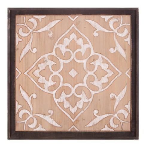 32 Carved Wood Medallion Framed Wall