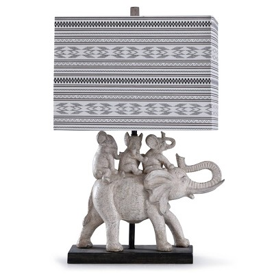 Dapple Family of Elephants Table Lamp with Rectangle Shade Gray/Brown - StyleCraft