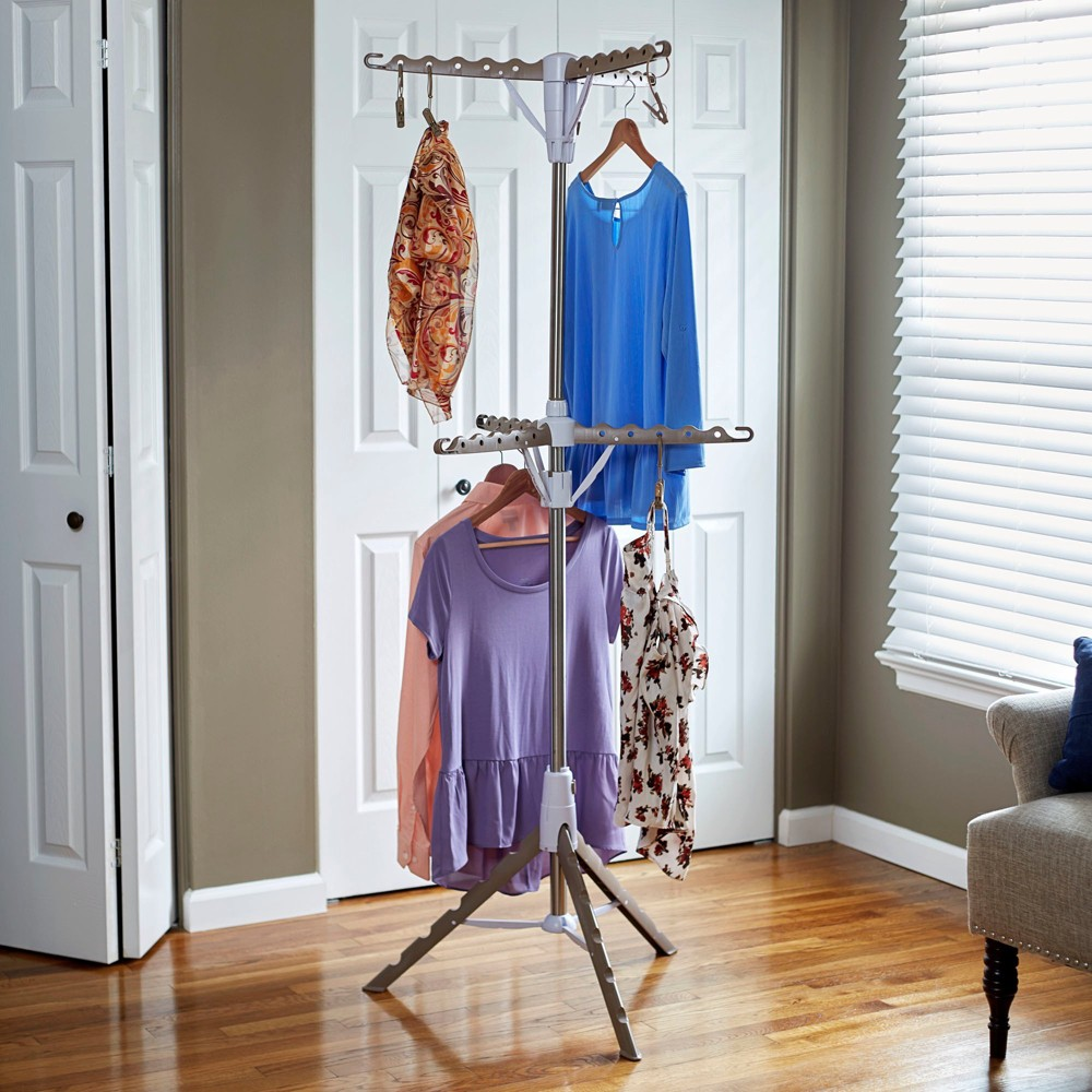 Image of Household Essentials 2-Tier Tripod Clothes Dryer with Clips, White Beige
