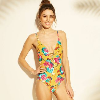 Women's Lace-Up Scoop Back One Piece Swimsuit - Xhilaration™ Chartreuse Floral XS