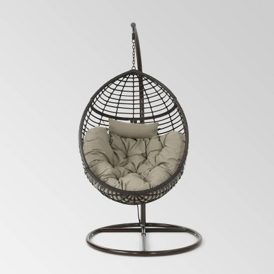Layla Wicker Hanging Basket Chair Khaki - Christopher Knight Home