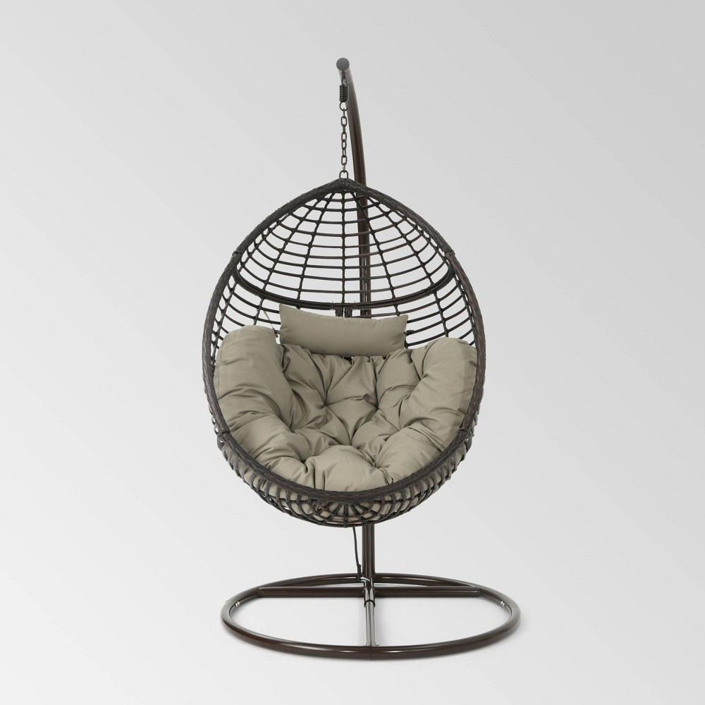 Layla Wicker Hanging Basket Chair Khaki Christopher Knight Home
