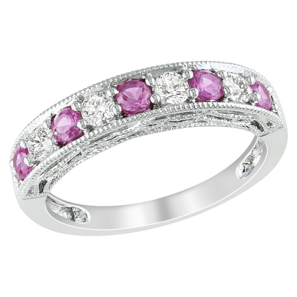 4 5 Ct T W Created Pink Sapphire And Created White Sapphire Ring Silver