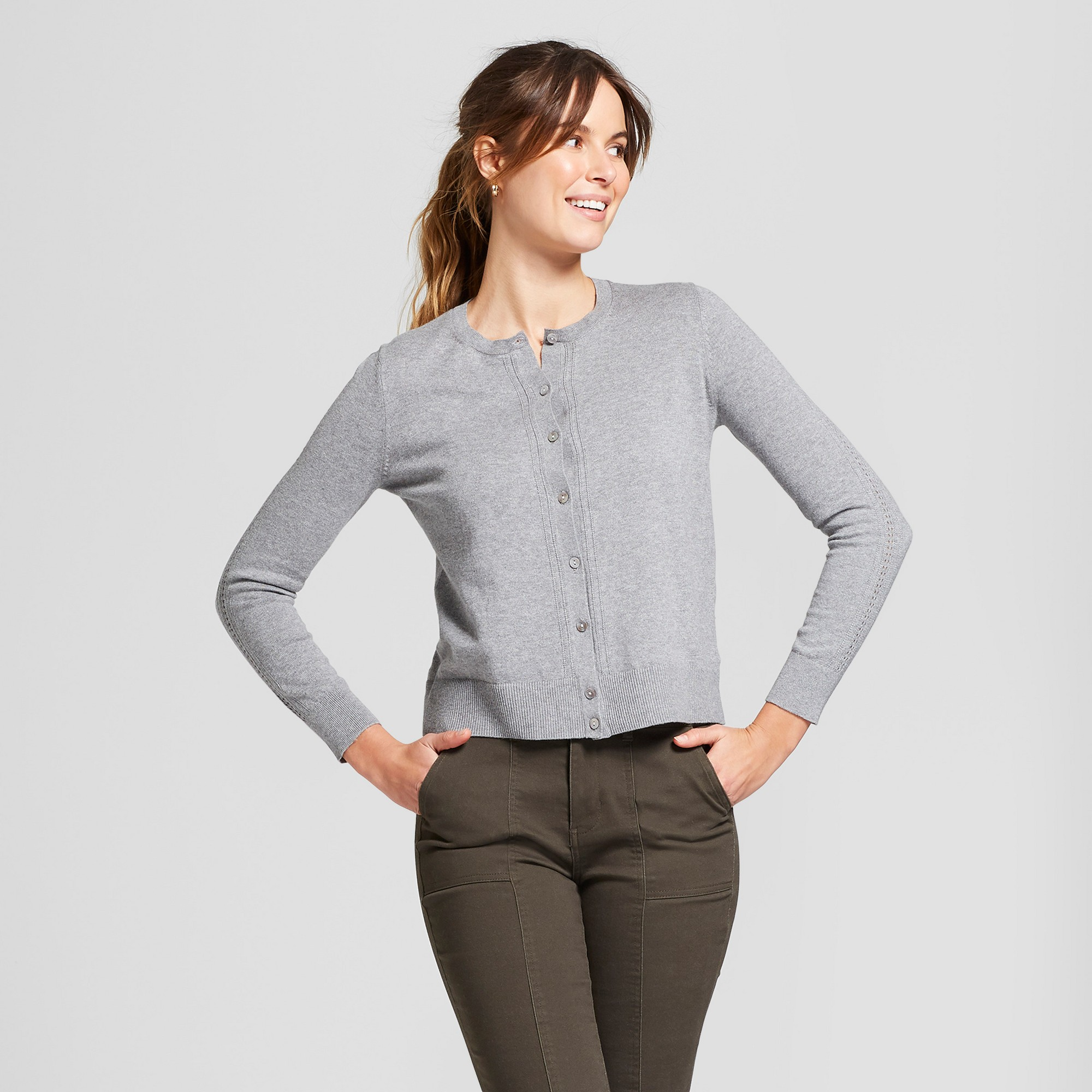 Women's Long Sleeve Crewneck Cardigan - A New Day Medium Heather Gray S