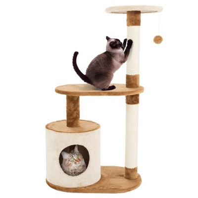 PETMAKER 3 Tier Cat Tree Condo with Scratching Posts Brown/Tan