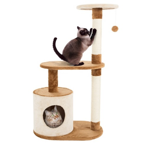 Petmaker 3 Tier Cat Tree Condo With Scratching Posts Brown Tan