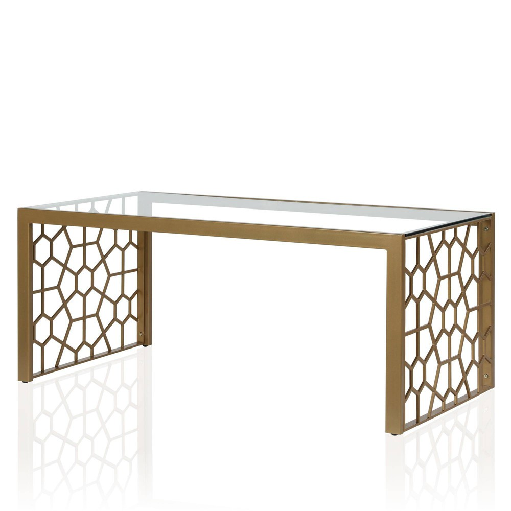 Image of Juliette Glass Top Coffee Table with Tempered Glass Brass - CosmoLiving by Cosmopolitan, Gold