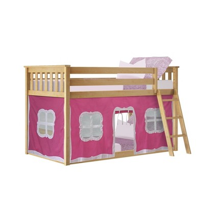 Max & Lily Twin over Twin Low Bunk with Curtains