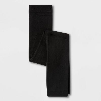 Girls' Fleece Lined Footless Tights - Cat & Jack™ Black S