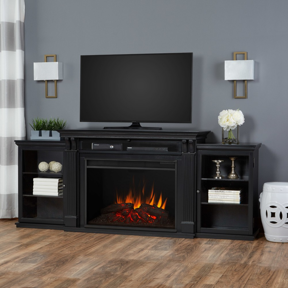 Image of Tracey Grand Electric Fireplace Entertainment Center- Black - Real Flame