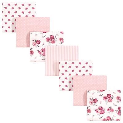 Hudson Baby Unisex Baby Cotton Flannel Receiving Blankets Bundle - Cream Rose One Size