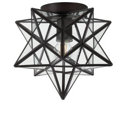 "9.75"" Stella Moravian Star Metal/Glass LED Flush Mount - JONATHAN Y"