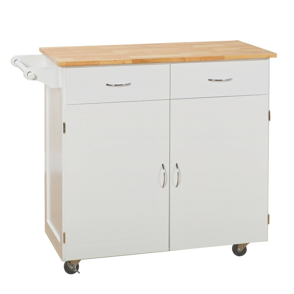 Large Kitchen Cart with Wood Top White - Buylateral
