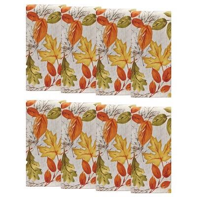 "Autumn Leaves Fall Printed Napkins, Set of 8 - 17"" x 17"" - Orange/Yellow - Elrene Home Fashions"