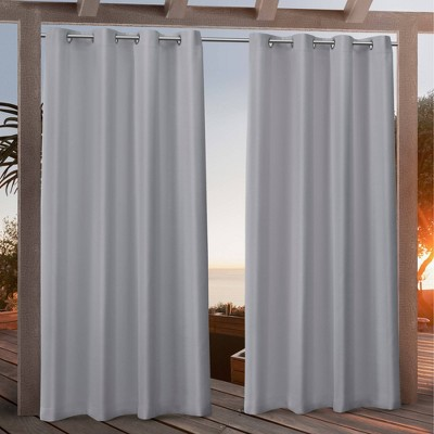 "108""x54"" Canvas Grommet Top Light Filtering Window Curtain Panels Light Gray - Nicole Miller"