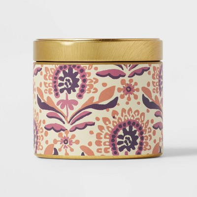 4oz Mini Grab Tin with Patterned Wrap Label Coconut Plum Crumble Candle - Opalhouse™