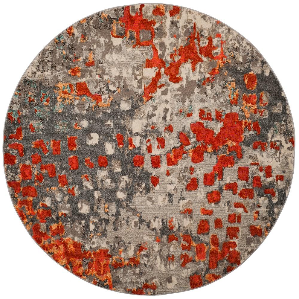 5' Shapes Round Area Rug Gray/Orange - Safavieh