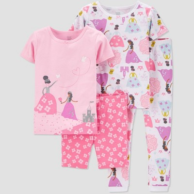 Baby Girls' 4pc 100% Cotton 'Princess' Pajama Set - Just One You® made by carter's Pink 12M