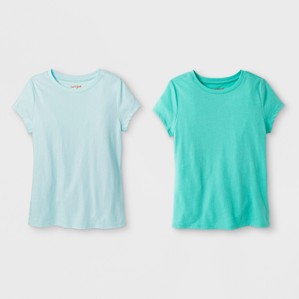 Girls' 2pk Solid Short Sleeve T-Shirt - Cat & Jack Green/Aqua M