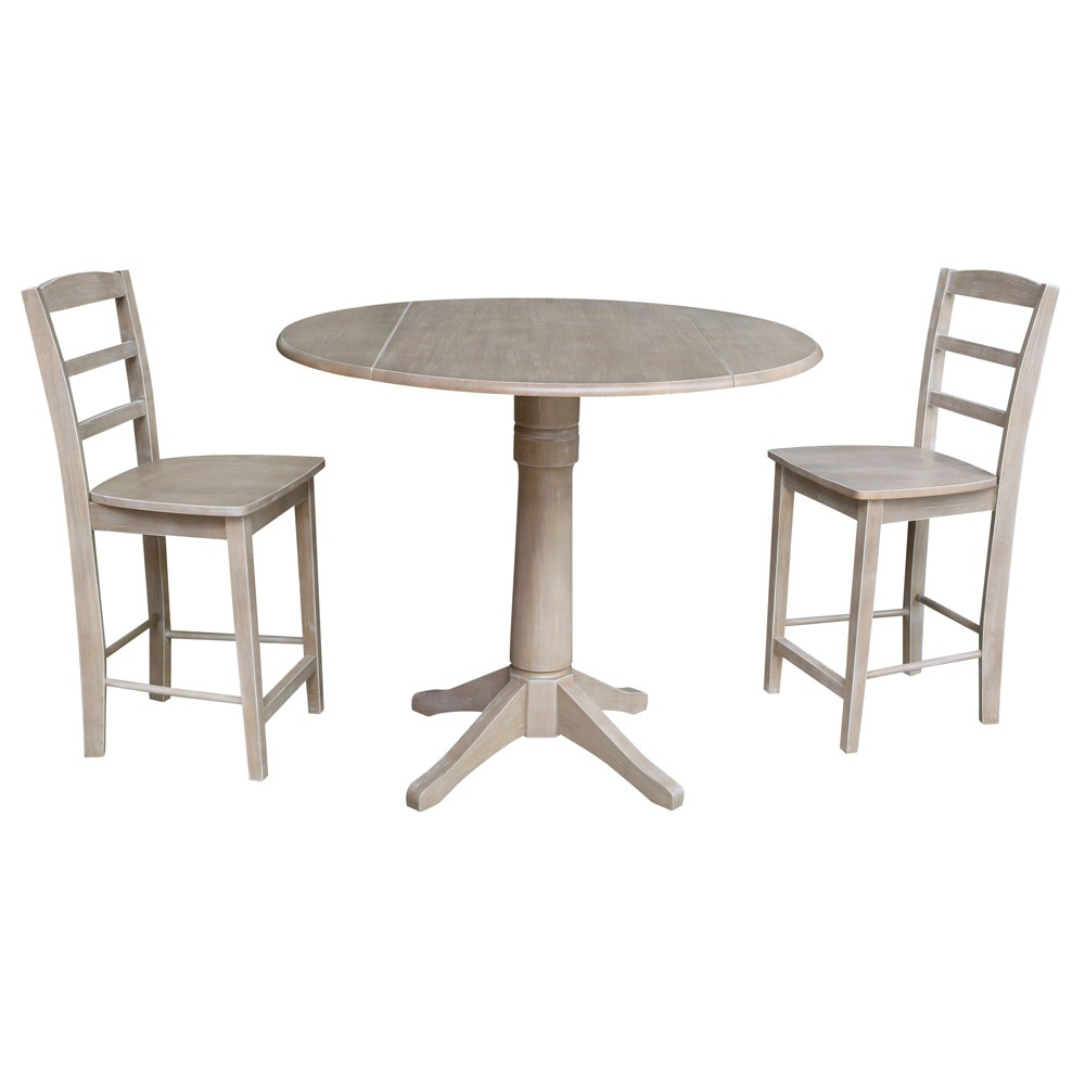 36.3 Joan Round Pedestal Gathering Height Table with 2 Counter Height Stools Washed Gray Taupe - International Concepts was $899.99 now $674.99 (25.0% off)