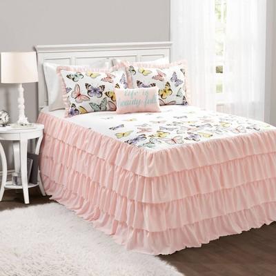 Flutter Butterfly Bedspread Quilt Set Pink - Lush Décor