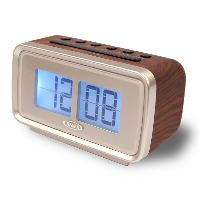 "JENSEN AM/FM Dual Alarm Clock Radio with Digital Retro ""Flip"" Display - Brown (JCR-232)"