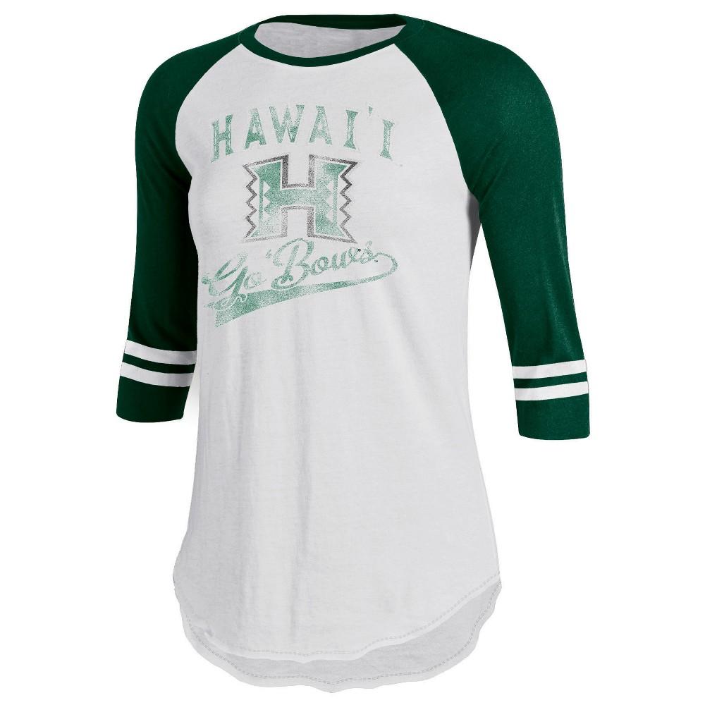 Hawaii Rainbow Warriors Women's Retro Tailgate White/3/4 Sleeve T-Shirt M, Multicolored