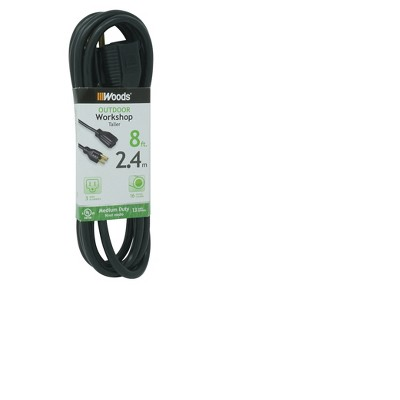 Woods 8' Outdoor Extension Cord Black