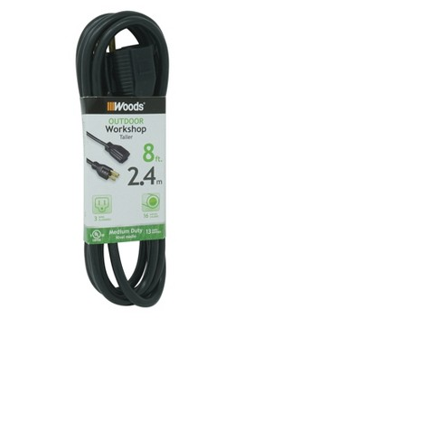 Outdoor Extension Cord Black 8' - Woods - image 1 of 2