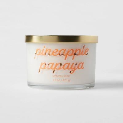 15oz Lidded Glass Jar 3-Wick Pineapple Papaya Candle - Opalhouse™