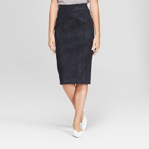 71c44c8dd Women's Midi Suede Pencil Skirt - Prologue™ Black S : Target