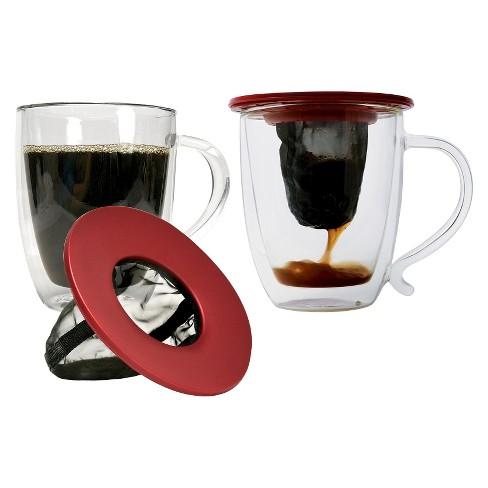 Primula Set Of 2 Glass Mugs Set With 2 Coffee Brew Buddies