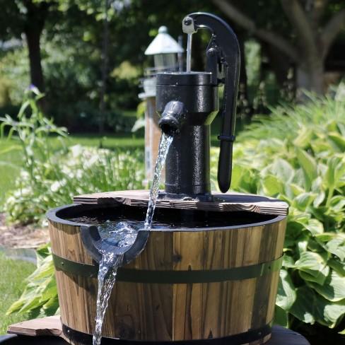 37 Rustic 2 Tier Wood Barrel Water Fountain With Hand Pump Sunnydaze Decor Target